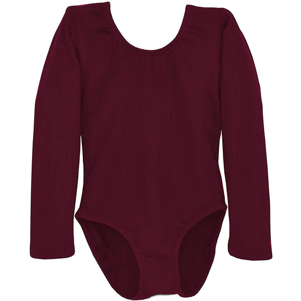 Dancina Girls' Long Sleeve Cotton Ballet Leotard Front Lined in Wine Red