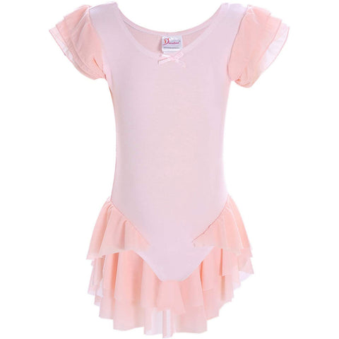 Dancina Girls' Ballet Leotard with Ruffle Sleeves and Flutter Waist in Ballet Pink