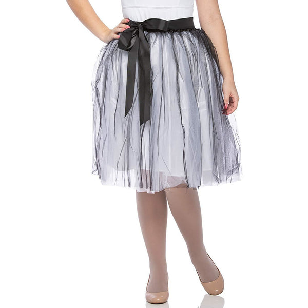 Adults & Girls A-line Knee Length Tutu Tulle Skirt - Regular and Plus Size White Black