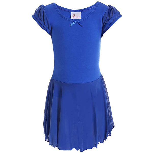 Dancina Flutter Sleeve Skirted Leotard for Girls in Dark Blue