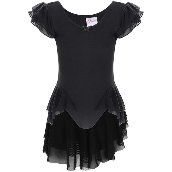 Dancina Girls' Ballet Leotard with Ruffle Sleeves and Flutter Waist in Black