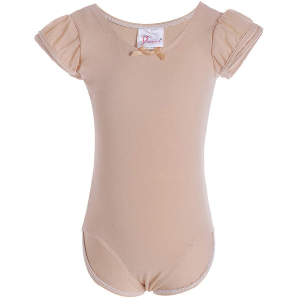 Dancina Girls Ballet Leotard with Flutter Sleeve and Full Front Lining in Beige