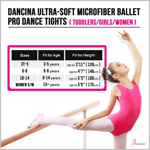 Dancina Girls' Ballet Pro Transition Tights Ultra-soft for Dance and Gymnastics