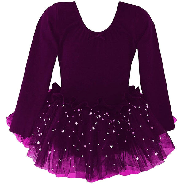 "Girls' Xmas Outfit ""Ballet Everything"": Long Sleeve Sparkle Dress, Footed Tights, Stockings & Mary Jane Shoe"