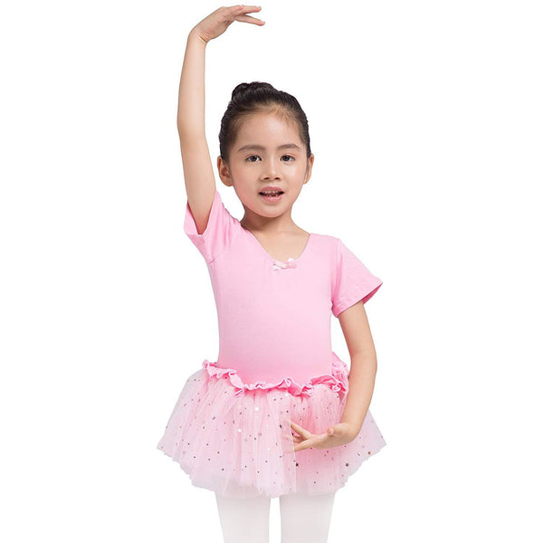Dancina Leotard Sparkle Tutu Dress Short Sleeve in Pink