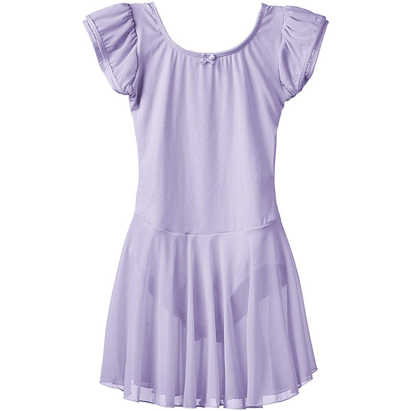 Dancina Flutter Sleeve Skirted Leotard for Girls in Lavender