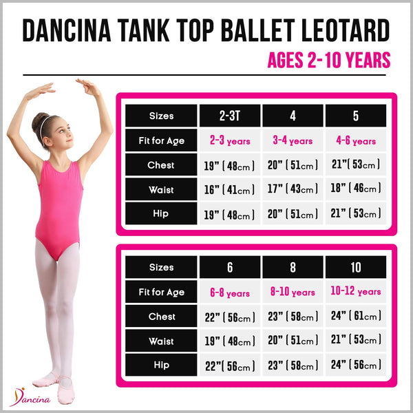 Dancina Leotard Tank Top Ballet Gymnastics Front Lined Comfy Cotton Ages 2-10