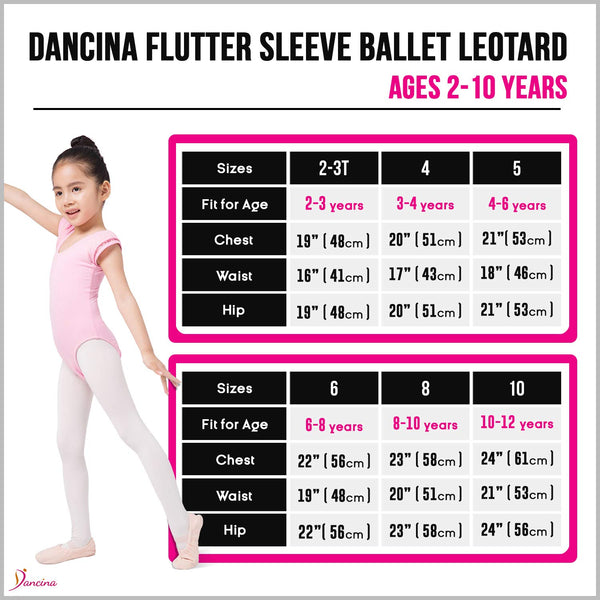 Dancina Girls Ballet Leotard with Flutter Sleeve and Full Front Lining Size Chart