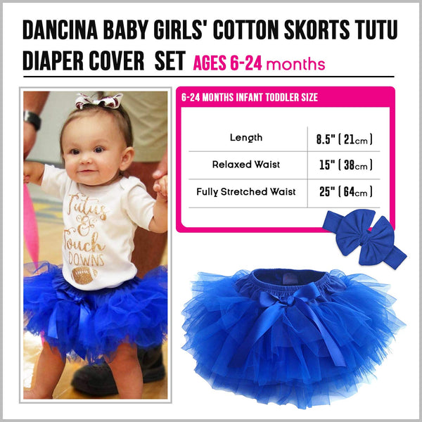 Dancina Baby Romper Tutu Diaper Cover Skorts with Headband Ages 6-24 months