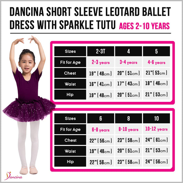 Dancina Leotard Sparkle Tutu Dress Short Sleeve Size Chart