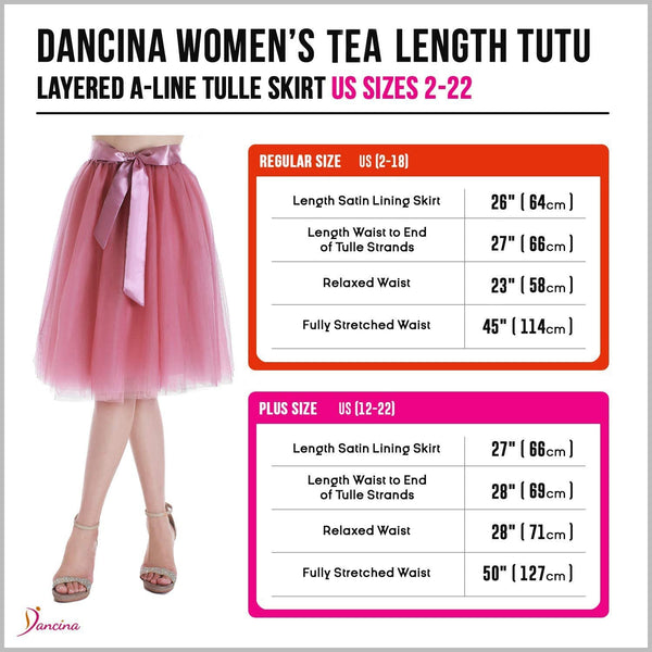 Dancina Women's A-Line Tea Length Midi Tulle Skirt - Regular and Plus Size Size Chart