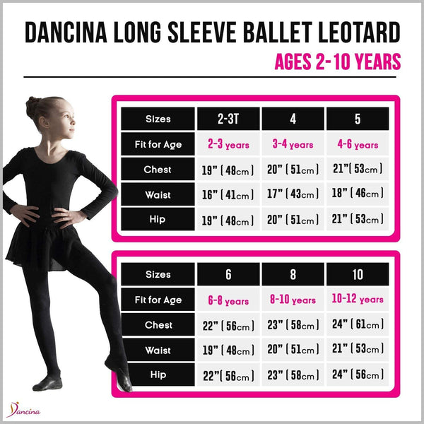 Dancina Girls' Long Sleeve Cotton Ballet Leotard Front Lined Size Chart