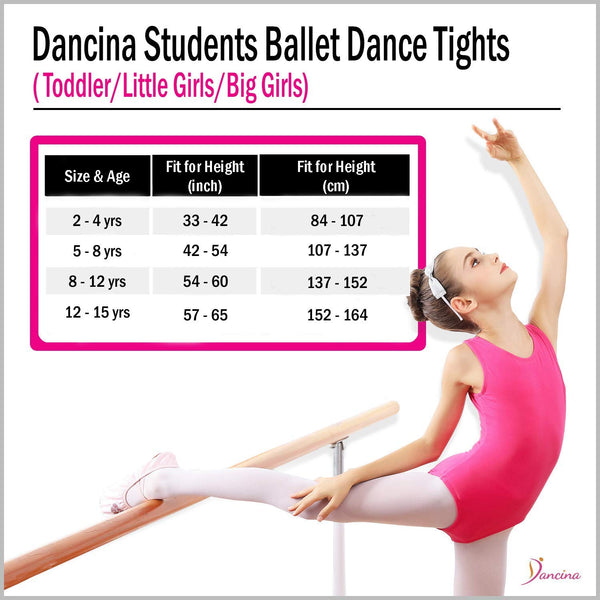 Dancina Girls' Students Footed Ballet Dance School Tights (Toddler/Little Girls/Big Girls) Size Chart
