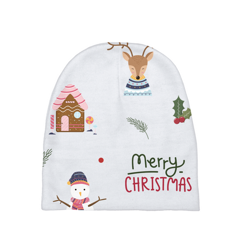 "Christmas ""Snowman & Gingerbread House"" Baby Beanie"