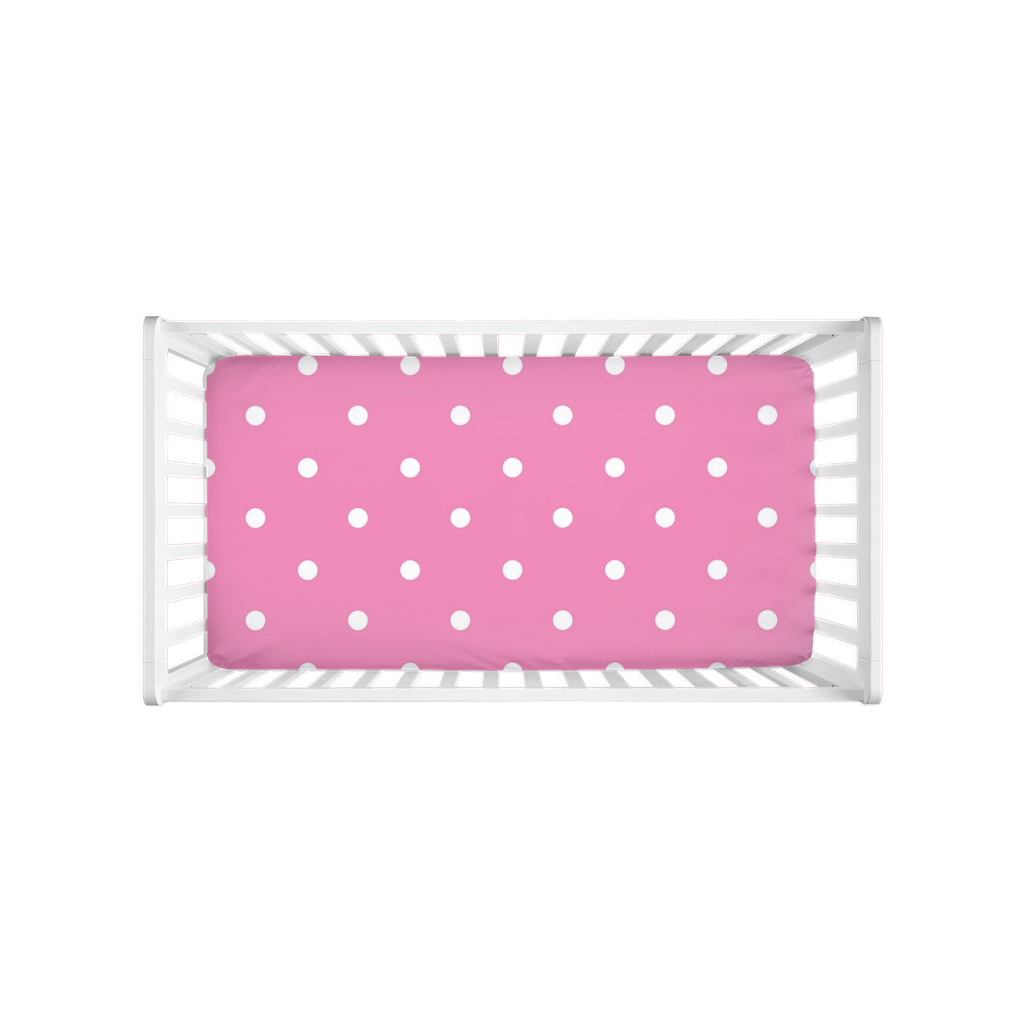 Pink Polka Dots Stripes Crib Sheet