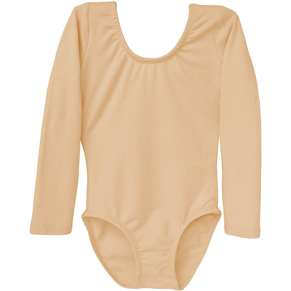 Dancina Girls' Long Sleeve Cotton Ballet Leotard Front Lined in Beige