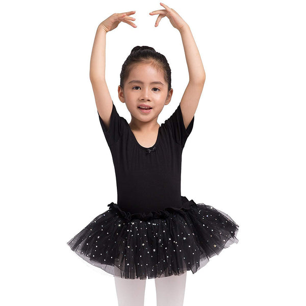 Dancina Leotard Sparkle Tutu Dress Short Sleeve in Black