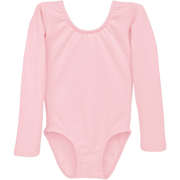 Dancina Girls' Long Sleeve Cotton Ballet Leotard Front Lined in Ballet Pink