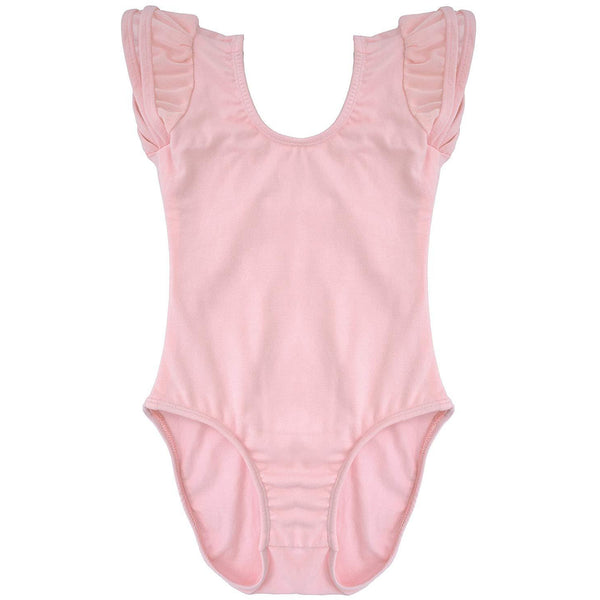 Dancina Girls Ballet Leotard with Flutter Sleeve and Full Front Lining in Ballet Pink