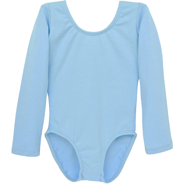 Dancina Girls' Long Sleeve Cotton Ballet Leotard Front Lined in Light Blue