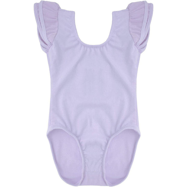 Dancina Girls Ballet Leotard with Flutter Sleeve and Full Front Lining in Lavender