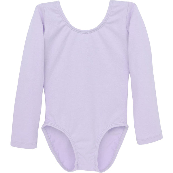 Dancina Girls' Long Sleeve Cotton Ballet Leotard Front Lined in Lavender