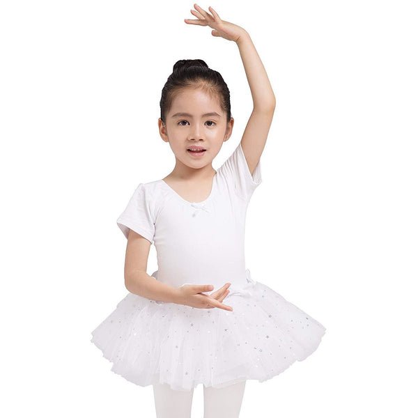 Dancina Leotard Sparkle Tutu Dress Short Sleeve in White