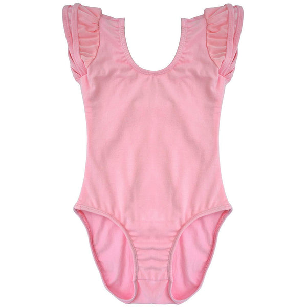 Dancina Girls Ballet Leotard with Flutter Sleeve and Full Front Lining in Pink