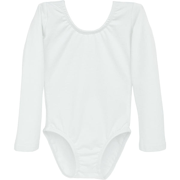 Dancina Girls' Long Sleeve Cotton Ballet Leotard Front Lined in White