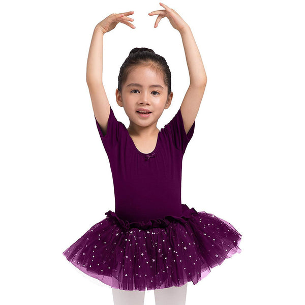 Dancina Leotard Sparkle Tutu Dress Short Sleeve in Dark Purple