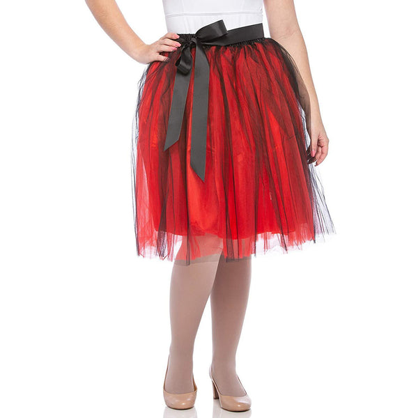 Adults & Girls A-line Knee Length Tutu Tulle Skirt - Regular and Plus Size Red Black