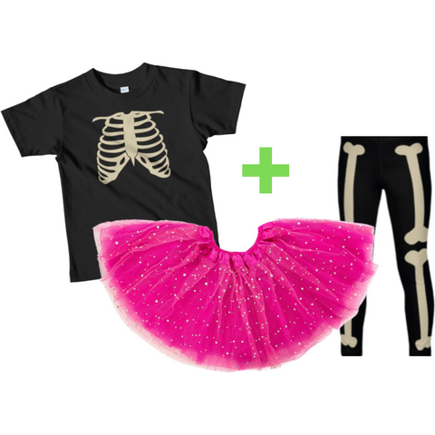"Girls' Halloween Outfit ""Skeleton"": T-Shirt + Tutu + Legging"