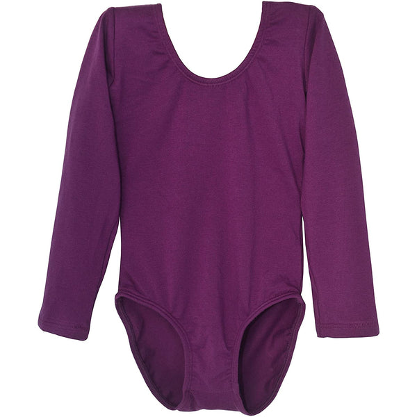 Dancina Girls' Long Sleeve Cotton Ballet Leotard Front Lined in Dark Purple