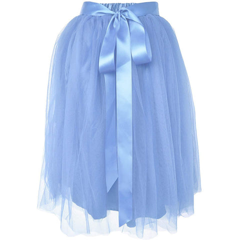 Adults & Girls A-line Knee Length Tutu Tulle Skirt - Regular and Plus Size in  Light Blue