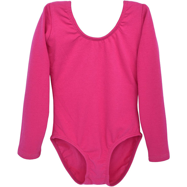 Dancina Girls' Long Sleeve Cotton Ballet Leotard Front Lined in Hot Pink