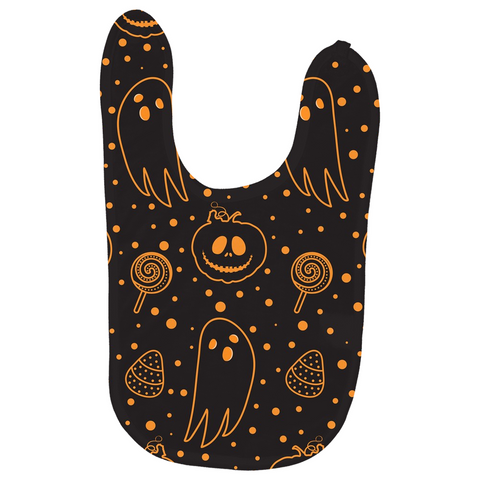 "Dancina Halloween Baby's Bibs ""Black & Orange Boo"""