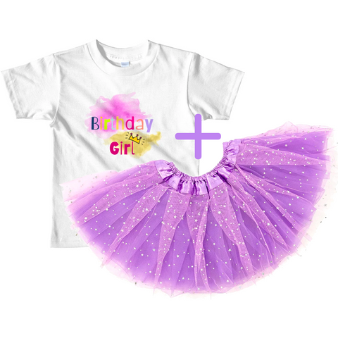 Birthday Outfit for Little Girls: Birthday Girl T-Shirt + Matching Sparkle Tutu