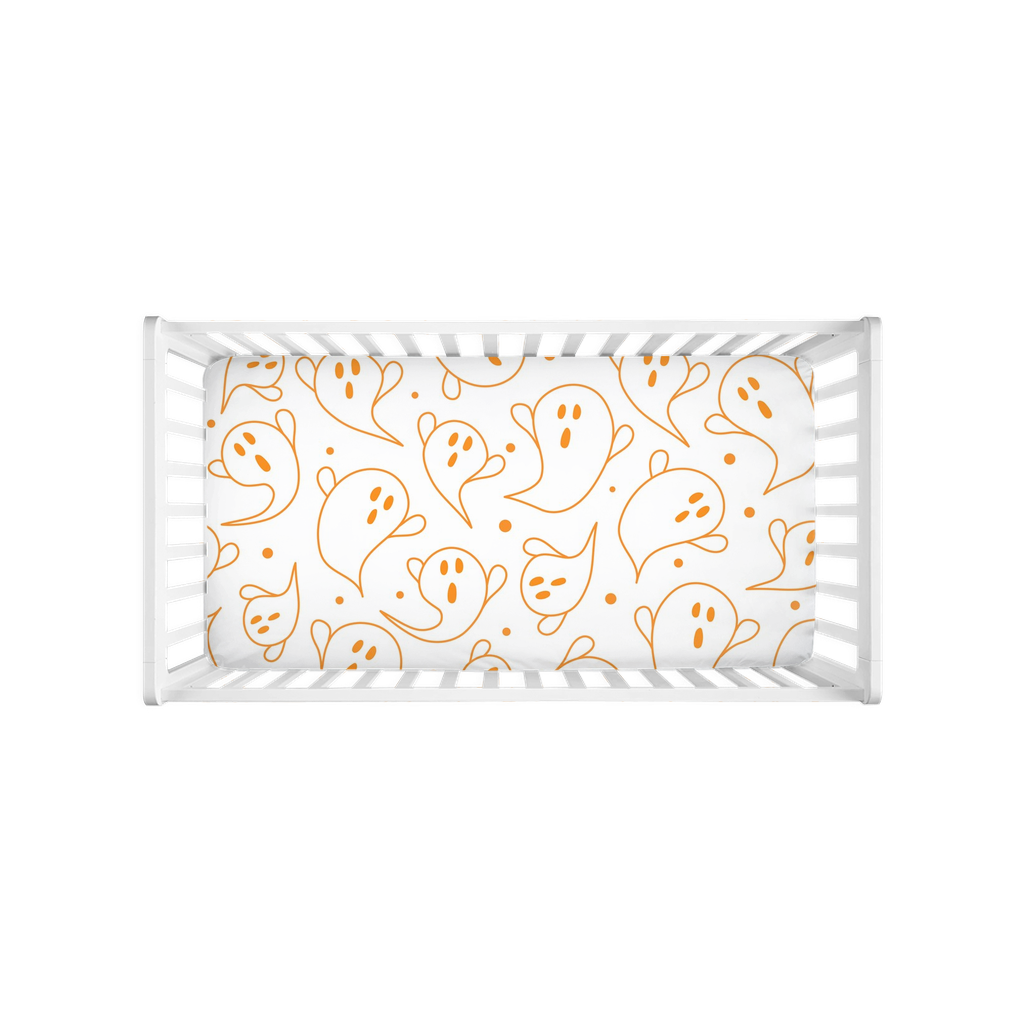"Halloween Crib Sheet ""Orange Boo"""