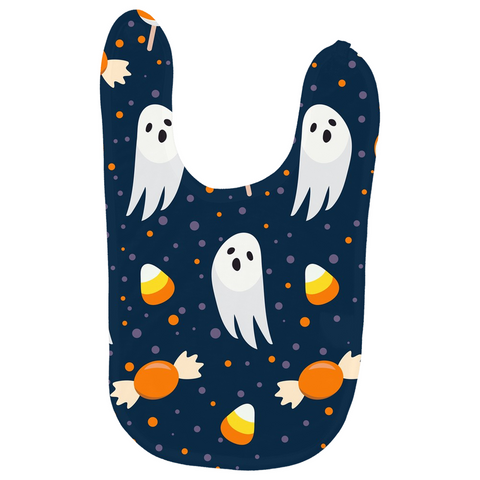 "Halloween Baby's Bib ""Blue & Orange Boo"""
