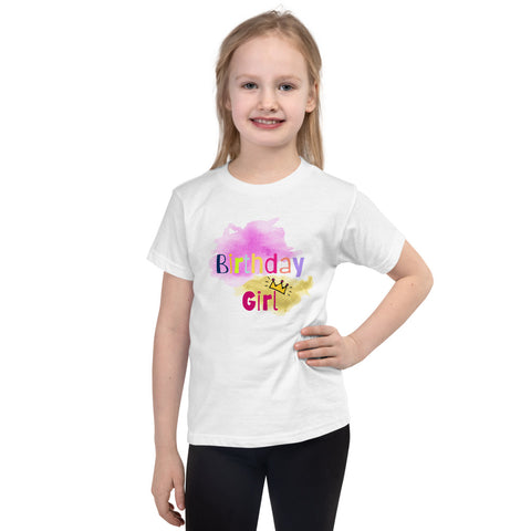 "Dancina Short Sleeve Birthday T-Shirt ""Birthday Girl"" for Little Girls"