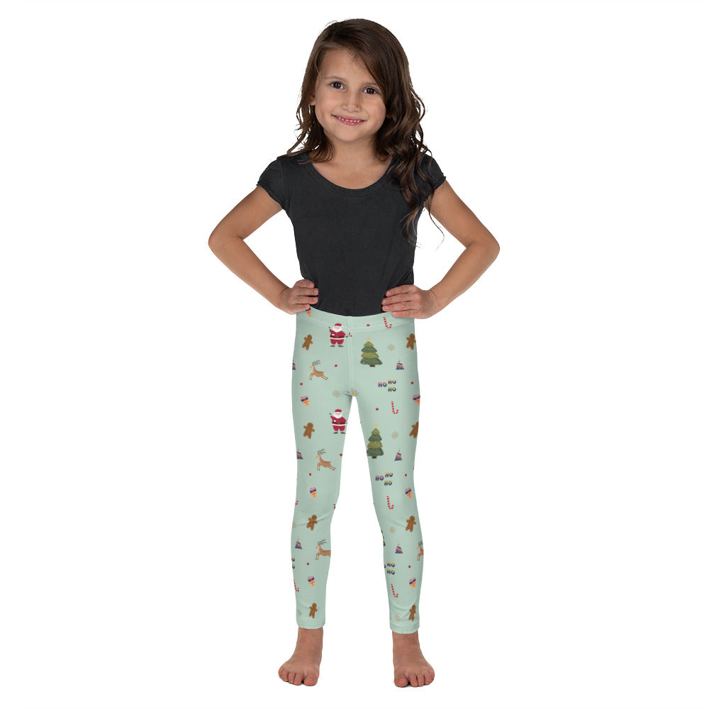 "Little Girls Leggings ""Christmas Tree & Santa"""