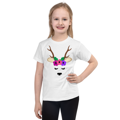 "Girls Christmas T-Shirt ""Flower Reindeer"""