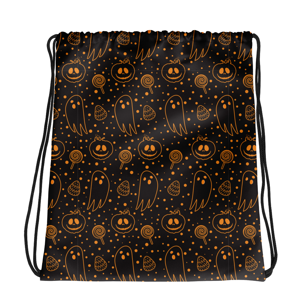 "Dancina Halloween Trick or Treat ""Black & Orange Boo"" Drawstring Bag"