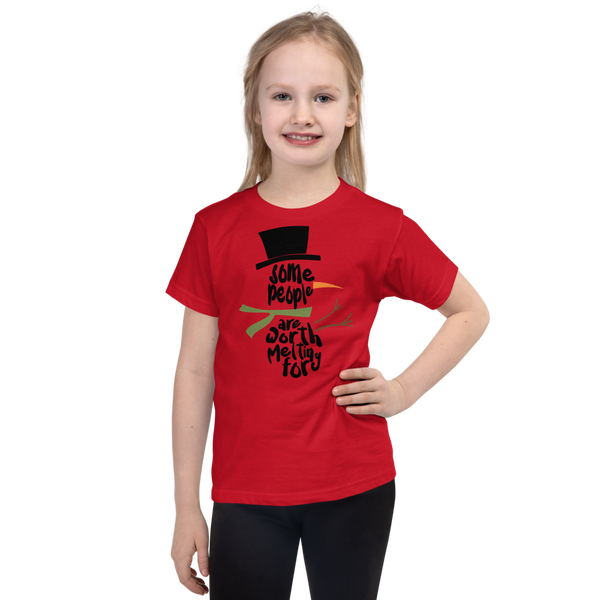 "Girls Christmas T-Shirt ""Worth Melting For"""