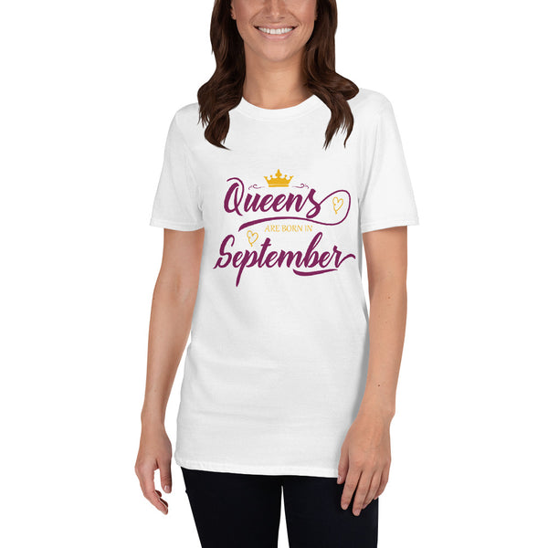 "Dancina Women's Short-Sleeve Birthday T-Shirt ""Queens are born in September"""