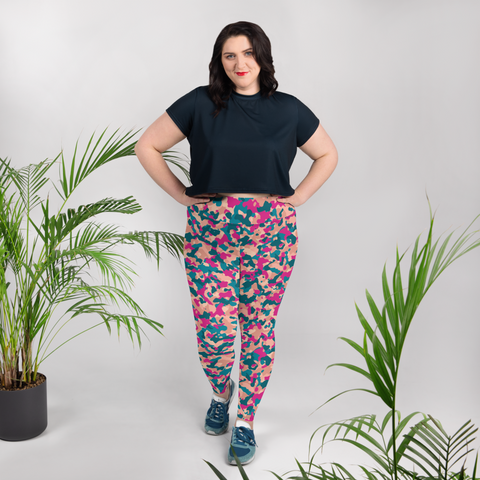 Pink & Turquoise Camo Plus Size Leggings