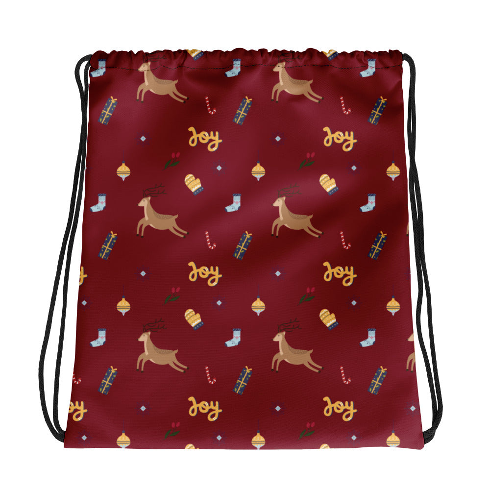 Christmas Joy & Reindeer Drawstring Bag