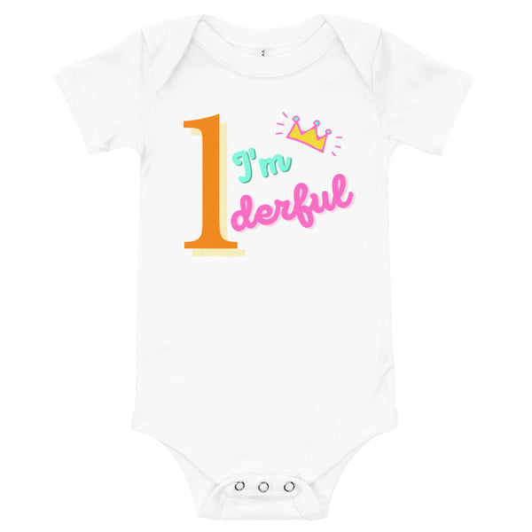 "Dancina Baby & Toddler 1st Birthday Onesie ""I'm 1derful"""