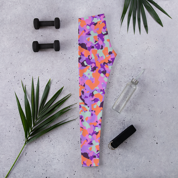 Neon Orange & Purple Camo Women Leggings