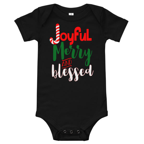 "Xmas Outfit: ""Joyful Merry and Blessed"" Onesie + Matching Baby Tutus + Christmas Stockings"